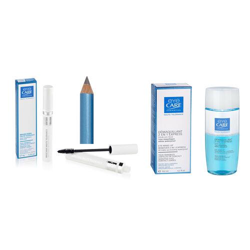 Eyecare Cosmetics- High tolerance macara grey, eyeliner pencil grey, 2 in 1 express eye makeup remover