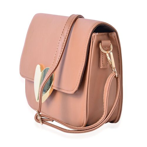 Cream Colour Crossbody Bag with Adjustable and Removable Shoulder Strap (Size 22.5x7x16 Cm)