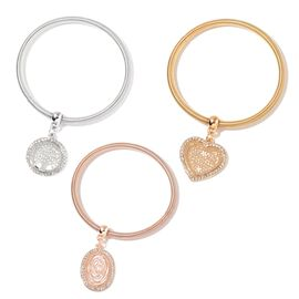 Set of 3 - AAA White Austrian Crystal Tree, Heart and Oval Charm Snake Chain Stretchable Bracelet (Size 7.5) in Silver, Yellow and Rose Gold Tone