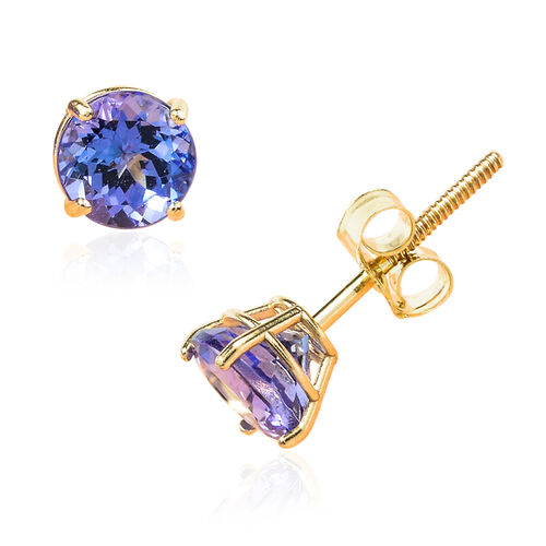 14K Y Gold Tanzanite (Rnd) Stud Earrings 1.102 Ct.