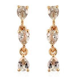 Natural Turkizite (Pear) Dangle Earrings (with Push Back) in 14K Gold Overlay Sterling Silver 1.000 Ct.