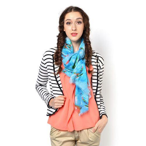 100% Wool Multi Colour Floral Pattern Blue Colour Scarf (Size 180x70 Cm)