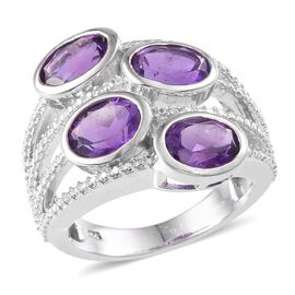 Amethyst (Ovl), Diamond Ring in Platinum Overlay Sterling Silver 4.410 Ct.