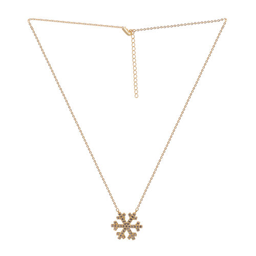 Close Out Deal Simulated Diamond (Rnd) Snowflake Pendant With Chain in 14K Gold Overlay Sterling Silver