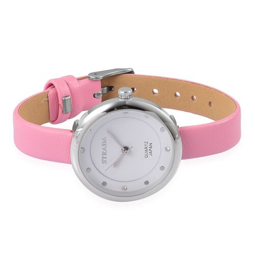 STRADA Japanese Movement White Austrian Crystal Watch with Pink Colour Band and Stainless Steel Back