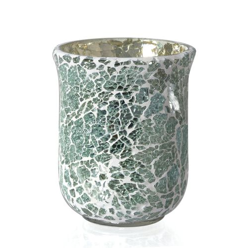 (Option 1) Home Decor - Crackle Glass Flower Vase or Tea Light Holder