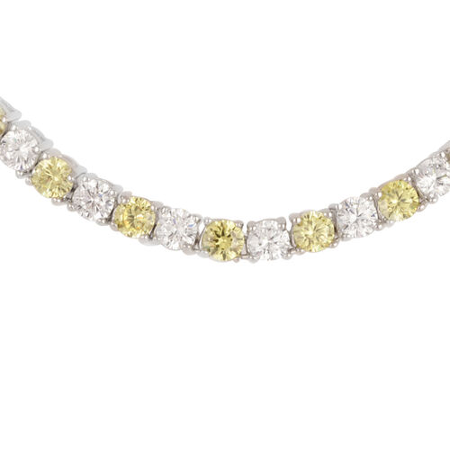 Close Out Deal AAA Simulated Diamond (Rnd) Tennis Bracelet (Size 7.25) in Silver Bond