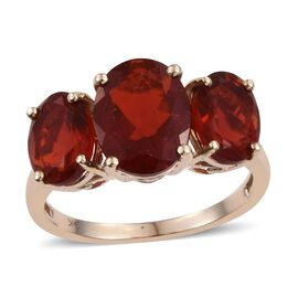 9K Y Gold AAA Jalisco Fire Opal (Ovl 1.75 Ct) 3 Stone Ring 3.500 Ct.