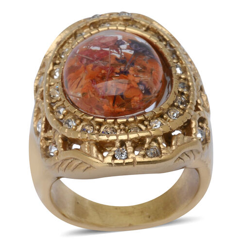 Natural Flower Preserved in Resin with White Austrian Crystal Yellow Gold Plated Stainless Steel Ring
