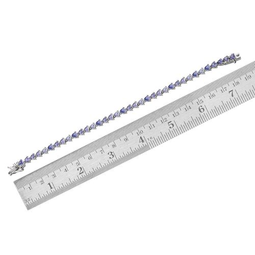 Tanzanite (Trl) Bracelet in Platinum Overlay Sterling Silver (Size 7) 7.000 Ct.