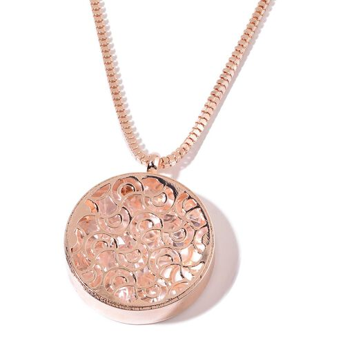 AAA Simulated White Diamond Pendant With Chain in Rose Gold Tone