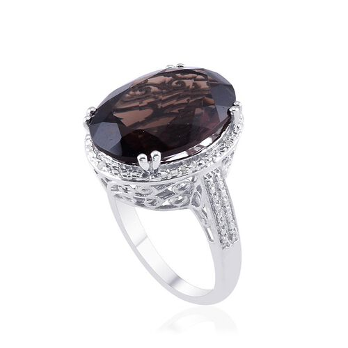 Brazilian Smoky Quartz (Ovl 13.50 Ct), Diamond Ring in Platinum Overlay Sterling Silver 13.530 Ct.
