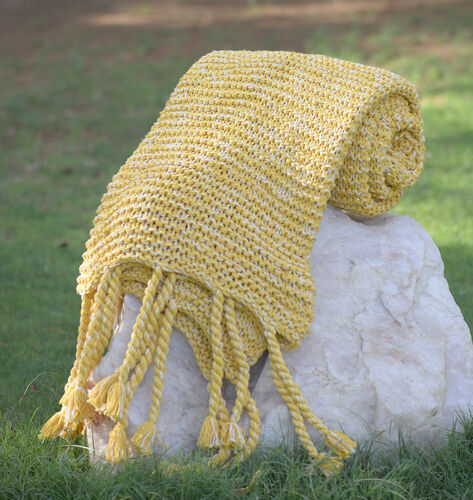 100% Cotton Chambray Lemon Colour Throw with Fringes