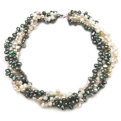 Fresh Water Green, White Pearl Necklace (Size 17) in Sterling Silver  680.000 Ct.