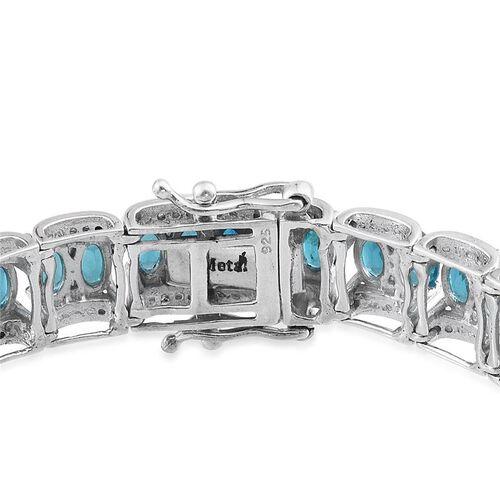 Malgache Neon Apatite (Ovl), Diamond Bracelet (Size 7.5) in Platinum Overlay Sterling Silver 12.020 Ct.