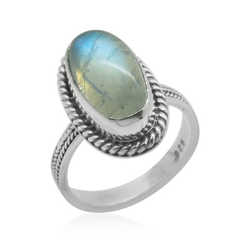 Royal Bali Collection Rainbow Moonstone (Ovl) Solitaire Ring in Sterling Silver 6.410 Ct.