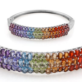 Hebei Peridot (Ovl), Electric Swiss Blue Topaz, Tanzanite, Amethyst, Madeira Citrine, Garnet and Jalisco Fire Opal Rainbow Bangle in Platinum Overlay Sterling Silver (Size 7.5) 10.500 Ct.