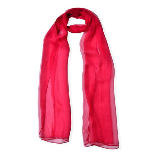 100% Mulberry Silk Rose Red Colour Scarf (Size 170X70 Cm)