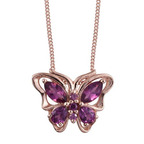 Rare Mozambique Grape Colour Garnet (Mrq) Butterfly Pendant With Chain in Rose Gold Overlay Sterling Silver 1.000 Ct.