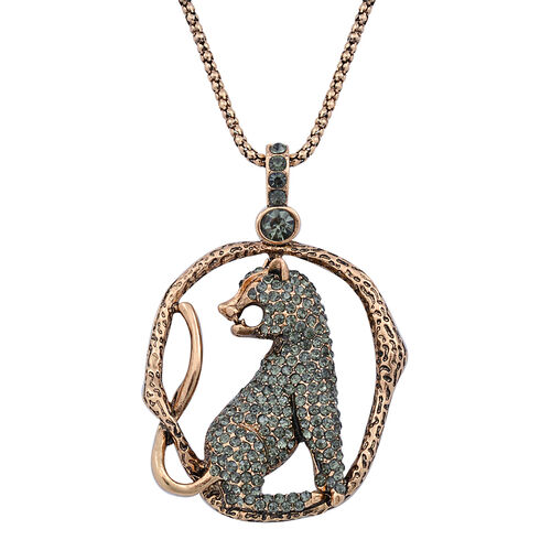 Grey Austrian Crystal and Glass Leopard Pendant With Chain in Rose Gold Tone
