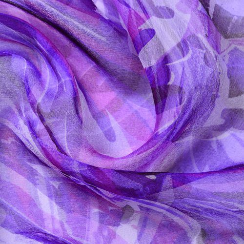 100% Mulberry Silk Purple and White Colour Printed Scarf (Size 180X50 Cm)