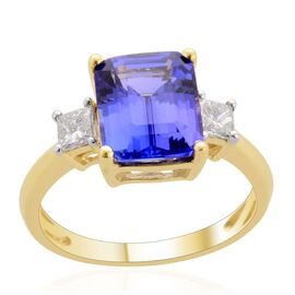 ILIANA 18K Y Gold AAA Tanzanite (Oct 2.00 Ct), Diamond Ring 2.100 Ct.