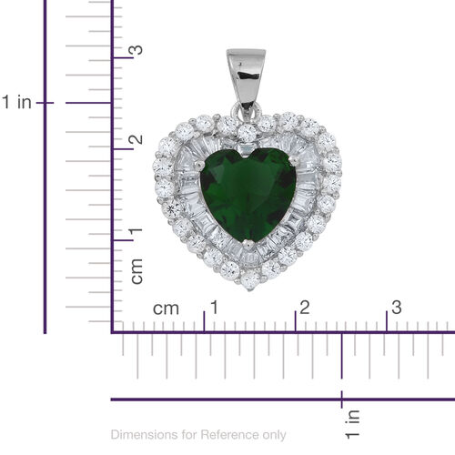 (Option 4) ELANZA AAA Simulated Emerald (Hrt), Simulated White Diamond Heart Pendant in Rhodium Plated Sterling Silver