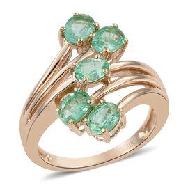 9K Y Gold Boyaca Colombian Emerald (Ovl) 5 Stone Crossover Ring 1.500 Ct.