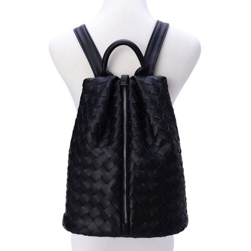 Olympia Black Weave Pattern Back Pack with Adjustable Shoulder Strap (Size 34.5x27x17 Cm)