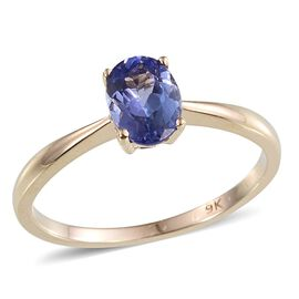9K Yellow Gold 1 Carat Tanzanite Oval Solitaire Ring