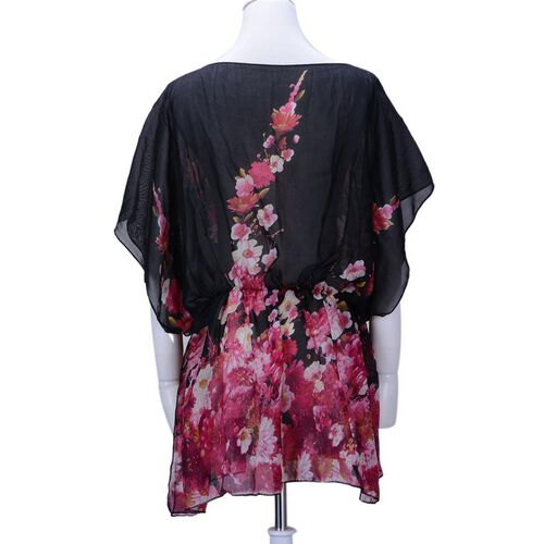 Multi Colour Flower Pattern Black Colour Kimono (Size 95x70 Cm)
