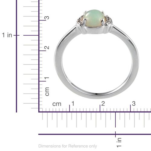 Ethiopian Welo Opal (Ovl 0.75 Ct), Diamond Ring in Platinum Overlay Sterling Silver 0.770 Ct.