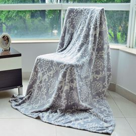 Luxury Superfine Microfibre Damask Blanket Grey and White (Size 200x150 Cm)