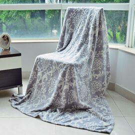 Luxury Superfine Microfibre Damask Blanket Grey and White (Size 200x150 Cm)