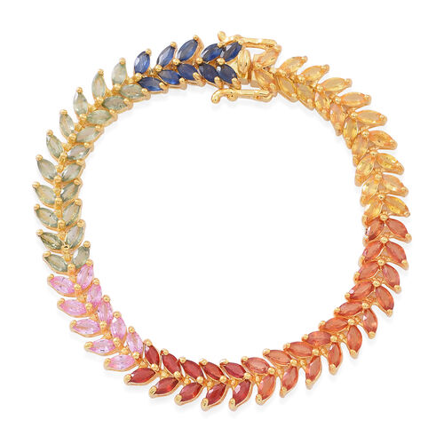 Rainbow Sapphire (Mrq) Line Bracelet (Size 7) in 14K Gold Overlay Sterling Silver 17.000 Ct.