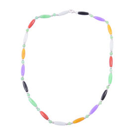 Multi Colour Jade Necklace (Size 18) in Rhodium Plated Sterling Silver 78.500 Ct.