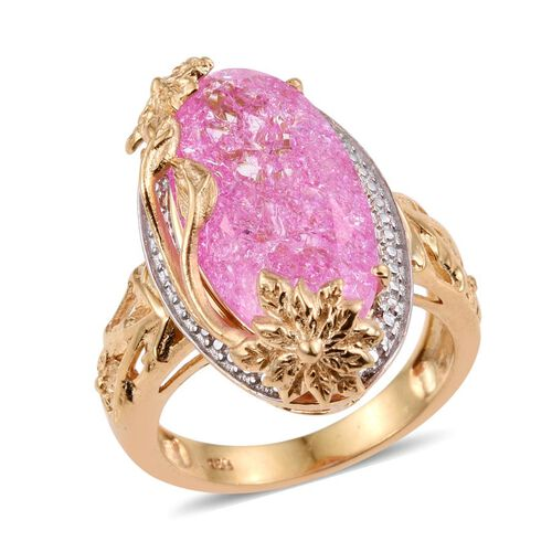 Hot Pink Crackled Quartz (Ovl) Solitaire Ring in 14K Gold Overlay Sterling Silver 8.000 Ct.
