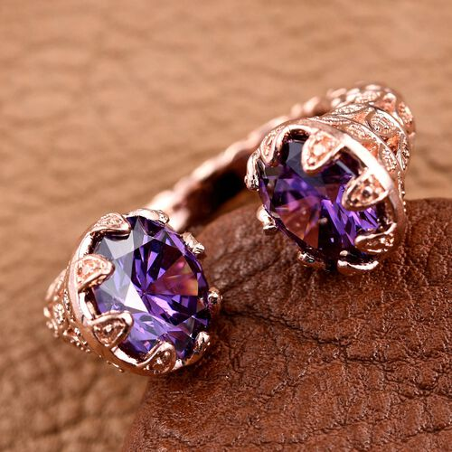 AAA Simulated Amethyst (Rnd) Ring in ION Plated 18K Rose Gold Bond