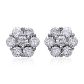 14K W Gold SGL Certified Diamond (Rnd) (I2 / G-H) Floral Stud Earrings (with Screw Back) 1.000 Ct.