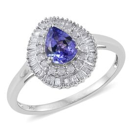 9K W Gold Tanzanite (Pear 1.00 Ct), Diamond Ring 1.500 Ct.
