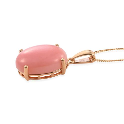 Natural Peruvian Pink Opal (Ovl) Solitaire Pendant With Chain in 14K Gold Overlay Sterling Silver 9.000 Ct.