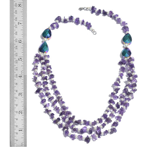 Amethyst and Glass Pearl Necklace (Size 20) in Silver Tone