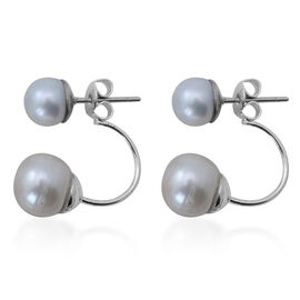 Fresh Water White Pearl Earrings (with Push Back) in Stainless Steel 10.000 Ct.