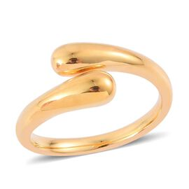LucyQ Drip Crossover Ring in Yellow Gold Overlay Sterling Silver 5.50 Gms.