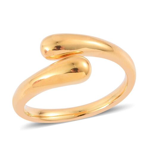 LucyQ Drip Crossover Ring in Yellow Gold Overlay Sterling Silver 5.57 Gms.