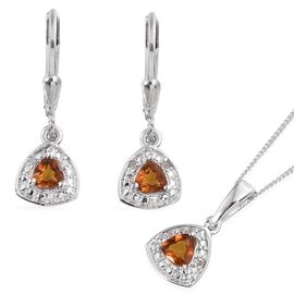 Madeira Citrine (Trl), Diamond Pendant With Chain and Lever Back Earrings in Platinum Overlay Sterling Silver 0.780 Ct.