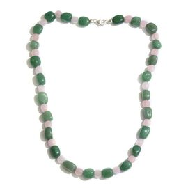 Limited One Time Deal-Green Aventurine and Rose Quartz Necklace (Size 20) in Sterling Silver 216.000 Ct.
