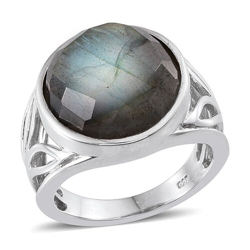 Labradorite (Rnd) Ring in Platinum Overlay Sterling Silver 11.250 Ct.