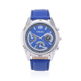 STRADA Japanese Movement Chronograph Look Blue Dial Water Resistant Watch in Silver Tone with Stainless Steel Back and Blue Strap