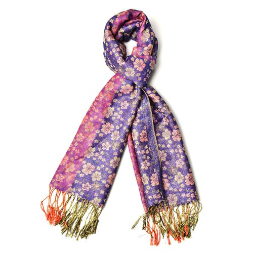 Yellow and Beige Colour Small Plum Blossom Pattern Blue, Pink and Purple Colour Scarf with Fringes (Size 170x70 Cm)